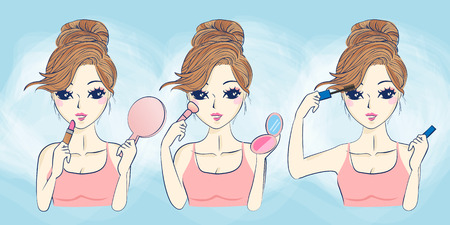 skin care woman: cartoon skin care woman make up,great for your design