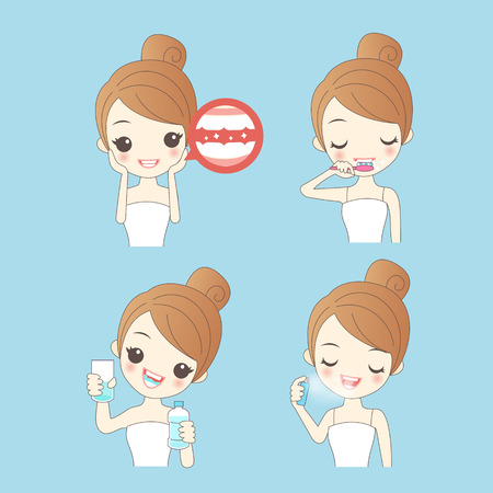 cartoon woman clean her teeth, great for your design
