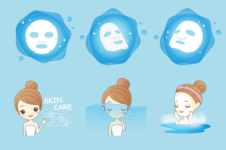 young asian girl: cartoon girl uses mask for skin care
