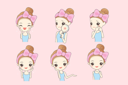display problem: cartoon skin care woman with various expression and face skin problem - young woman with a acne and magnifying glass check it, beauty Illustration