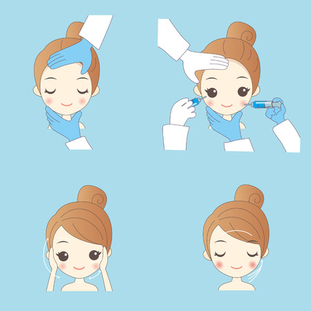 cartoon woman cosmetic injection to the pretty woman face. concept for micro plastic surgery Çizim