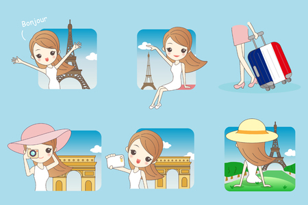 Cartoon Happy travel woman in Paris with Eiffel Tower