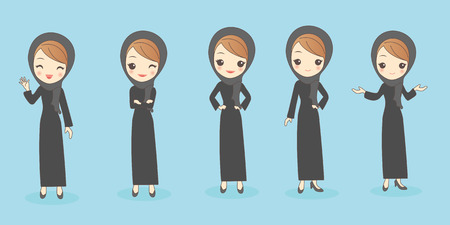 middle eastern clothes: cartoon arab woman do different gesture, great for your design