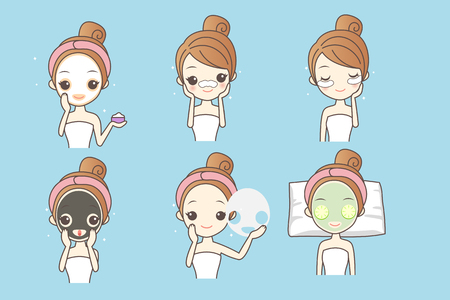 cartoon woman care her face with mask, facial, beauty Ilustrace