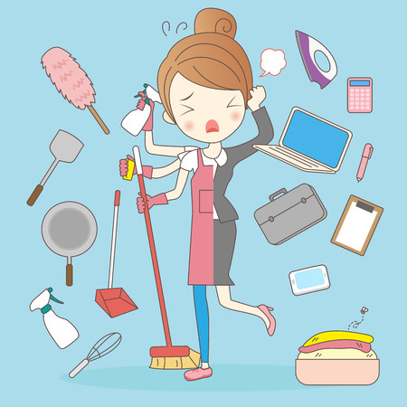 chores: cartoon super housewife and business woman feel upset