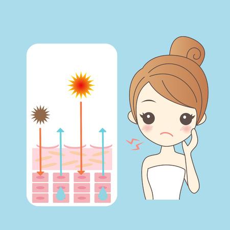 Cartoon vrouw met hydraterende huid, ideaal voor uw ontwerp Stock Illustratie
