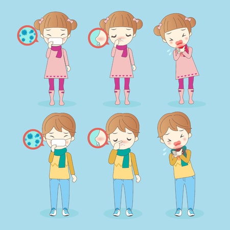 cartoon children has health problem,great for your health Illustration