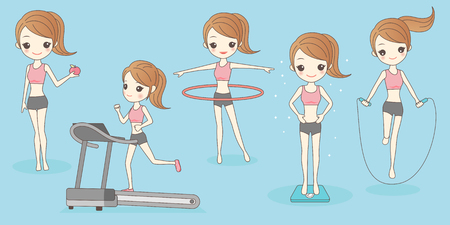 dessin animé femme mince dans la perte de poids, idéal pour votre conception