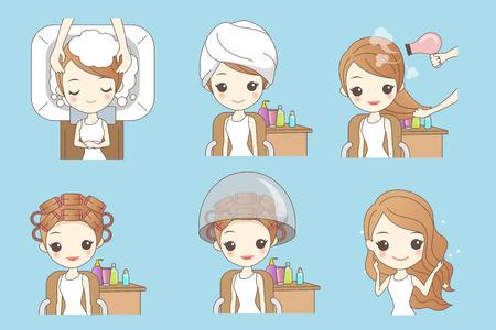 styler: cartoon woman doing hair salon, great for your design