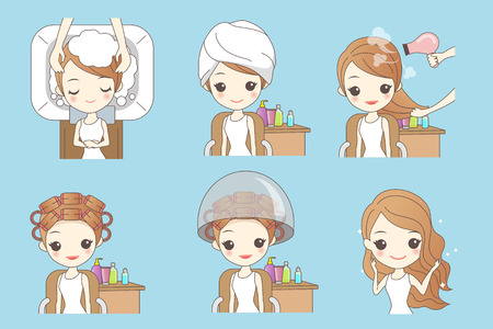 cartoon woman doing hair salon, great for your design