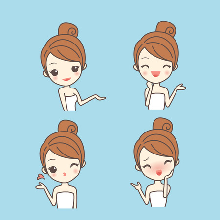 cartoon skin care woman show something with various expression, facial, beauty
