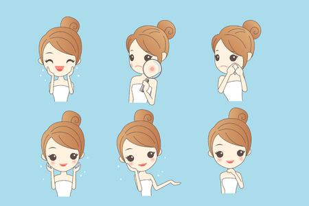 様々 な表現と顔の肌の問題 - 漫画肌ケア女性にきびと虫眼鏡の若い女性はそれ、美容をチェックします。