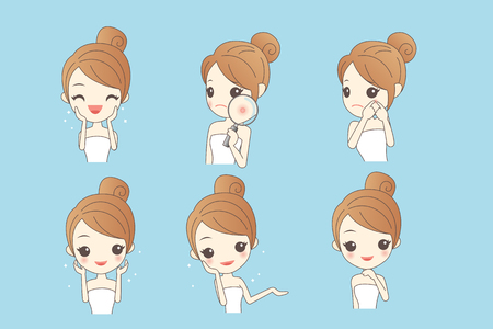 cartoon skin care woman with various expression and face skin problem - young woman with a acne and magnifying glass check it, beauty Çizim