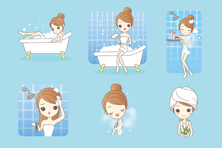 trouble free: cartoon woman is taking a bath in the bathroom Illustration