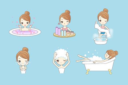 young asian girl: Cartoon beautiful young woman enjoy bath at home, beauty