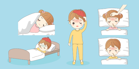 issue: Cartoon young children have a fever,great for your design Illustration