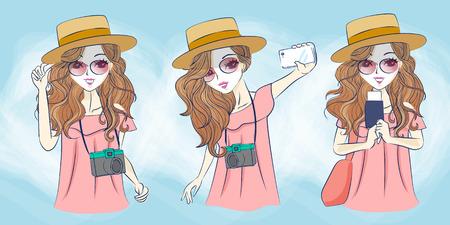 camera girl: cartoon travel woman selfie, great for your design Illustration