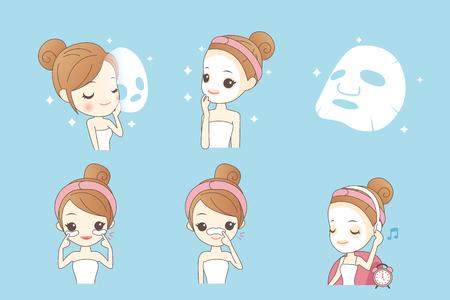 cartoon girl care her face with mask, facial, beauty