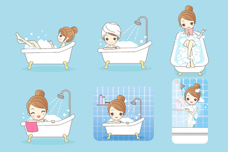 bath treatment: cartoon woman is taking a bath in the bathroom Illustration