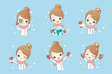 hone: cartoon woman travlehappily in winter with snow