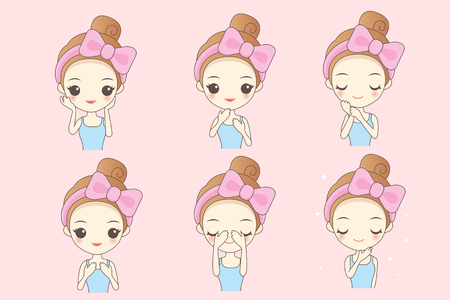 cartoon skin care woman take care her face, great for your design Illustration