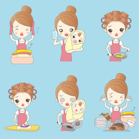 servicio domestico: Ama de casa de dibujos animados hacer el trabajo y se siente molesto Vectores