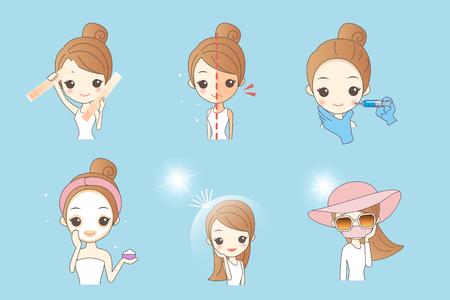 Cartoon Frau mit Sunscream, das Konzept für die Hautpflege und aufhellen