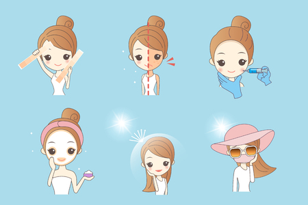 suntan lotion: cartoon woman using sunscream, concept for skin care and whiten