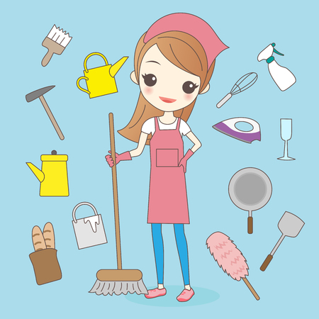 cartoon housewife do housework cleaning and smile to you