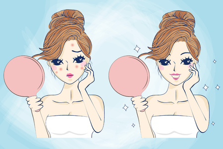 skin care woman: cartoon skin care woman with acne and take mirror check it, beauty
