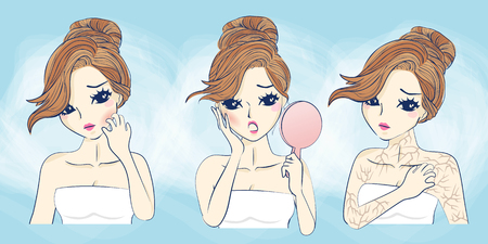 cartoon young woman scratching her face having allergy skin problem