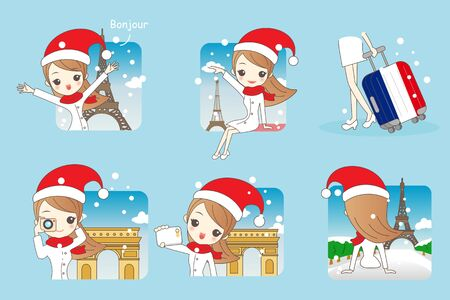 Cartoon beautiful woman go travel in christmas