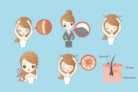 cartoon woman with dandruff, Healthy Lifestyle Concept