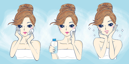 cartoon woman problem skin care and smile to you