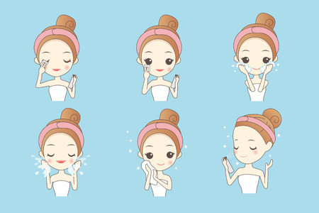cartoon girl cleaning and care face, Healthy Lifestyle Concept