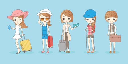 cartoon travel woman wear different clothes ,great for your design