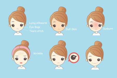 顔の肌の問題 - 漫画女性彼女の eyebags しわと不幸です ベクターイラストレーション