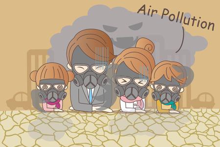 familia de dibujos animados que se siente mal con la contaminación del aire
