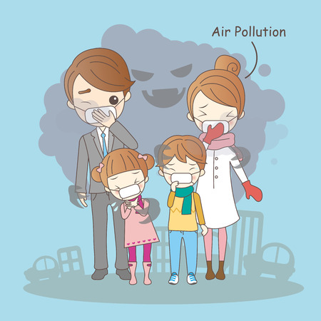 cartoon family with air pollution,great for your health
