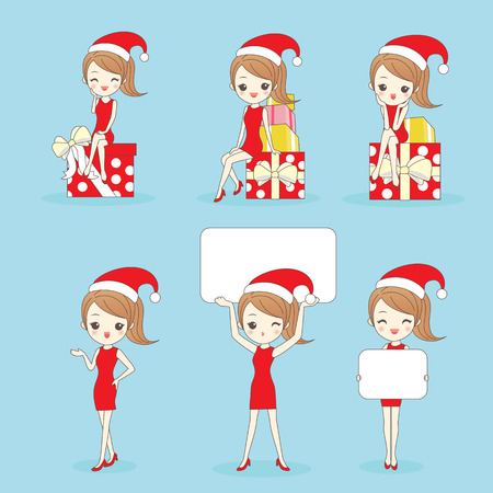 Cartoon happy woman wear christmas clothesa and show something Illustration