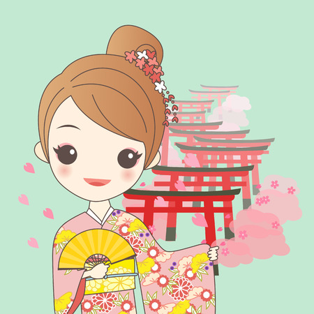 popular belief: japanese girl is wear kimono with cherry blossom or sakura and Torii gates in Fushimi Inari Shrine