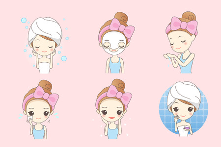 wash face: cartoon skin care woman with mask, beauty Illustration