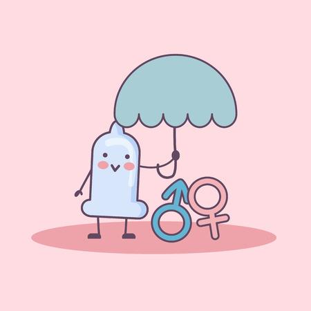 cartone animato preservativo tenere ombrello e proteggere il simbolo del sesso, il sesso sicuro e il concetto di contraccezione