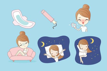 Protection Femme d'hygiène, la menstruation, serviettes hygiéniques, femme jours critiques, cycle menstruel, idéal pour le concept de la santé Banque d'images - 69430861