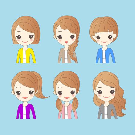 cute cartoon woman has different hair style Illustration