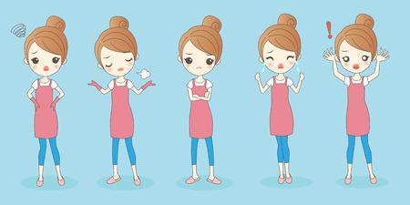 hardly: cartoon housewife do work hardly and feel bad
