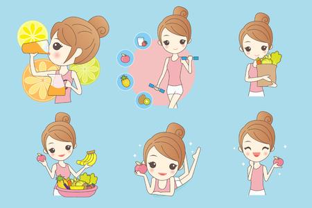 만화 건강 소녀 과일과 야채 스톡 콘텐츠 - 69430892