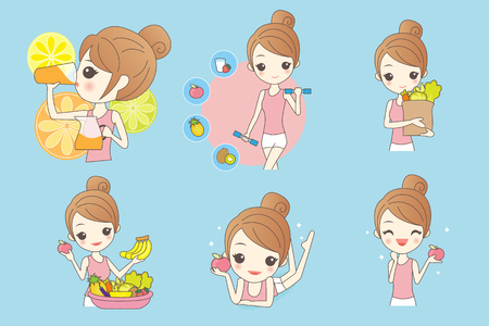cartoon health girl with fruit and vegetables 向量圖像