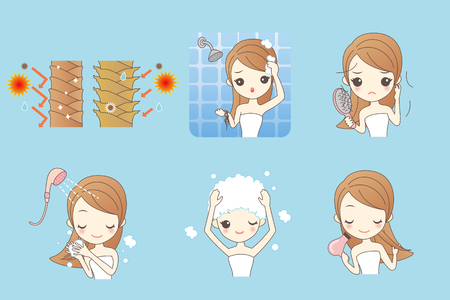 upset woman: cartoon girl cleaning with her hair, Healthy Lifestyle Concept
