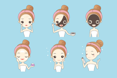 girl  care: cartoon girl care her face with mask, facial, beauty
